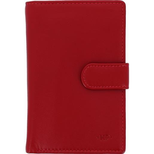 Nuvola Pelle portafoglio donna grande in pelle nappa con bottone portamonete e 12 tasche porta carte di credito rosso