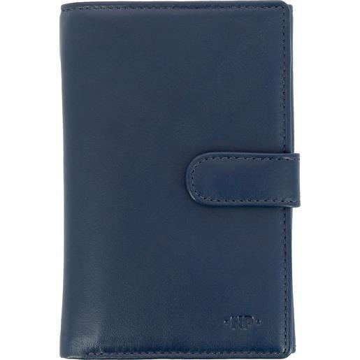 Nuvola Pelle portafoglio donna grande in pelle nappa con bottone portamonete e 12 tasche porta carte di credito blu