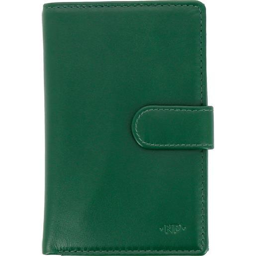 Nuvola Pelle portafoglio donna grande in pelle nappa con bottone portamonete e 12 tasche porta carte di credito verde