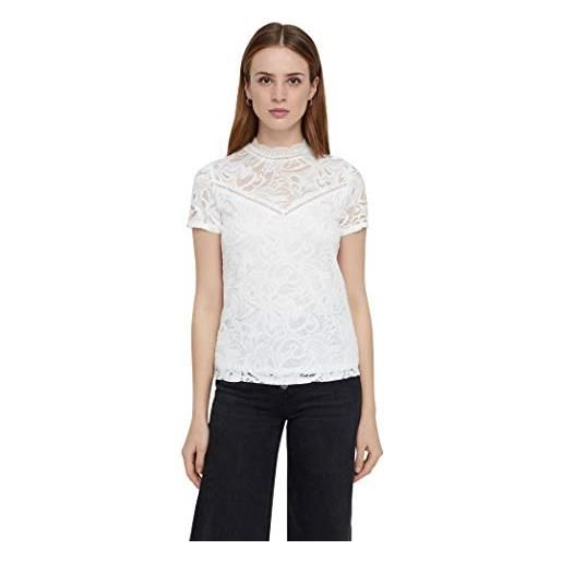 Vila clothes vistasia s/s lace top-noos vestaglia, nero (black black), 46 (taglia produttore: large) donna