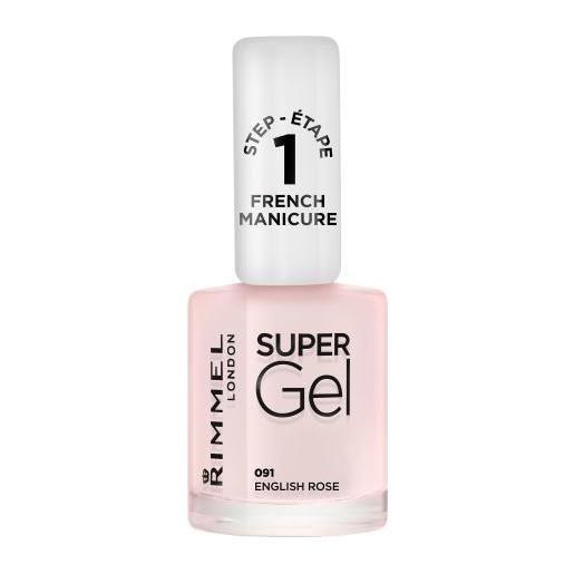 Rimmel London super gel french manicure step1 smalto gel per unghie effetto french manicure 12 ml tonalità 091 english rose