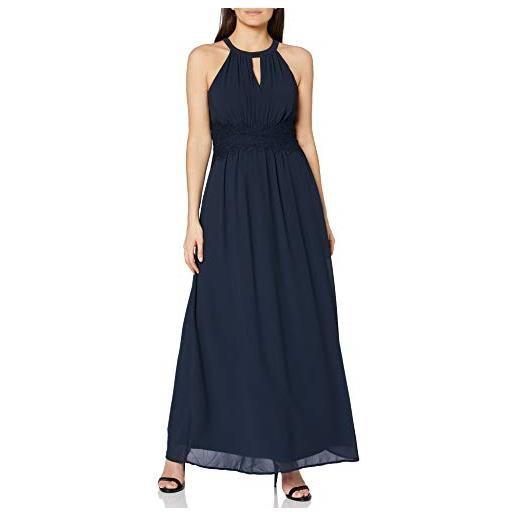 Vila clothes vimilina halterneck maxi dress-noos vestito, blu (total eclipse), 42 (taglia produttore: 36) donna