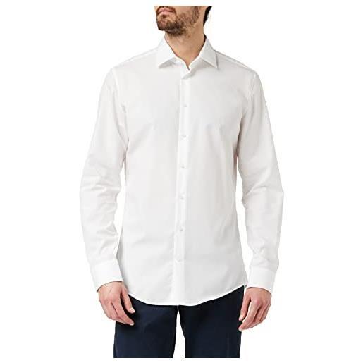 Seidensticker business kent 675198, camicia uomo, bianco (weiß 01), 45 cm