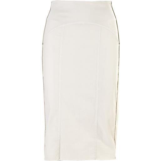 8PM abbigliamento donna gonna longuette cotone stretch bianco gesso 8PM