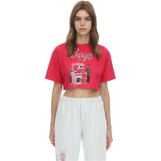 KLSH - KIDS LOVE STAIN HANDS t-shirt cropped barbie in jersey di cotone