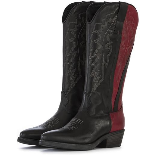 POESIE VENEZIANE scarpe donna stivali cowboy pelle nero bordeaux POESIE VENEZIANE