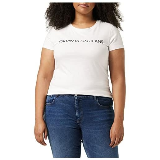 Calvin Klein core institutional logo slim fit tee maglietta, nero (ck black 099), l donna