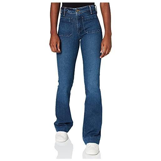 Wrangler flare jeans a zampa, blu (authentic dark 080), w26/l32 (taglia produttore: 26/32) donna