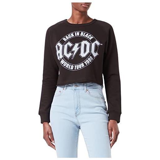 AC/DC tour emblem cropped sweatshirt felpa, nero (black blk), 46 (taglia unica: large) donna