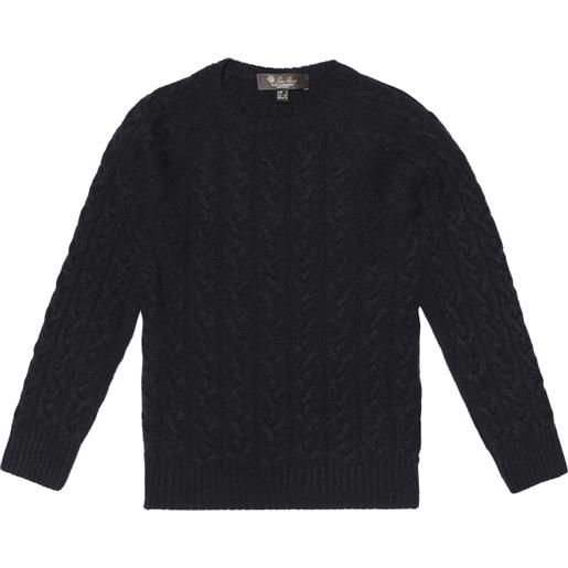Loro Piana Kids pullover downy cables in cashmere