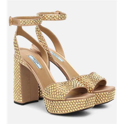 Prada sandali in raso con cristalli