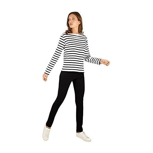 Armor Lux crozon t-shirt, multicolore (rich navy/blanc bi8), medium (taglia unica: 2) donna