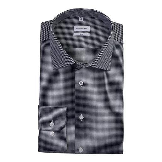 Seidensticker herren business hemd slim fit camicia formale, bianco (weiß 01), 45 uomo