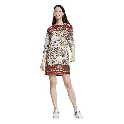 Desigual vest_praga vestito, bianco (crudo 1001), 42 (taglia produttore: 36) donna