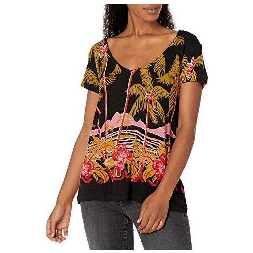 Desigual ts_black palms t-shirt, nero (negro 2000), small donna