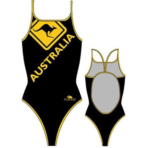 Turbo costume intero segnale di canguro australiano 12-24 months black / yellow