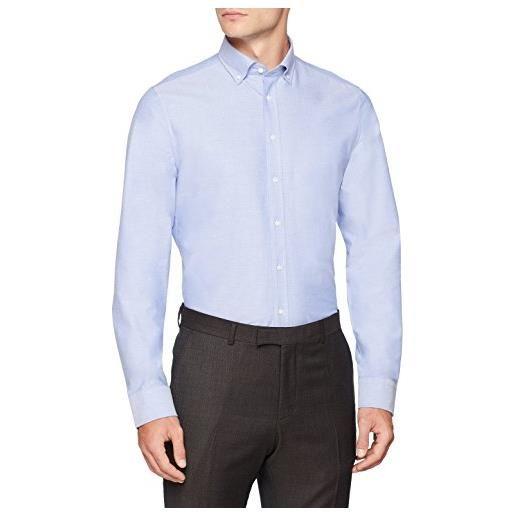 Seidensticker slim langarm mit button-down kragen soft uni smart business camicia formale, blu (blau 13), 41 uomo