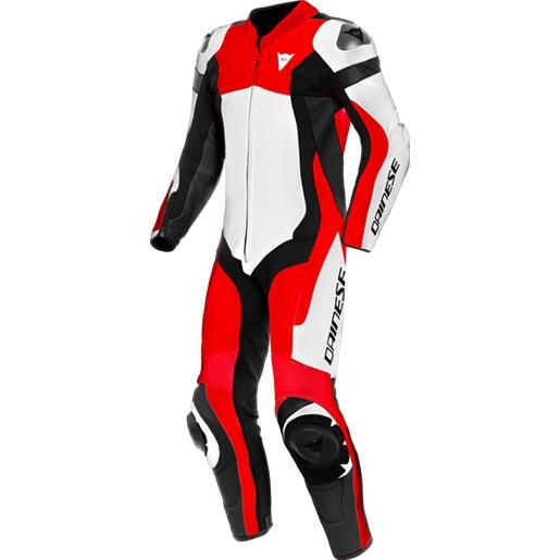 Dainese assen 2 tuta moto in pelle a60-white/lava-red/black | dainese