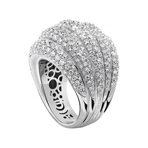 Damiani anello in oro bianco e pavé diamanti