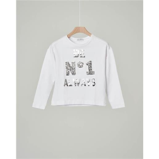 Elsy t-shirt bianca manica lunga con paillettes e scritta argentata 32-36