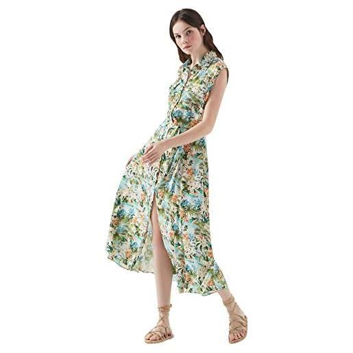 Mavi sleeveless dress vestito, black retro flower print, xl donna