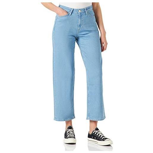 Lee wide leg jeans straight, blu (light oxford jh), w30/l31 (taglia unica: 30/31) donna