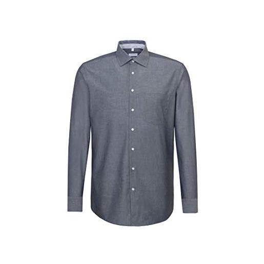 Seidensticker regular langarm uni bügelfrei 2 camicia elegante, azzurro, 38 uomo