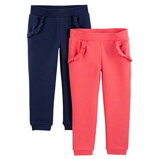 Simple Joys by Carter's 2-pack pull on fleece pants pantaloni casual, pink/navy, 5t, pacco da 2