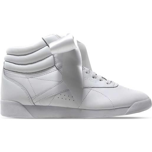 REEBOK sneaker freestyle satin hi satin bow donna bianco