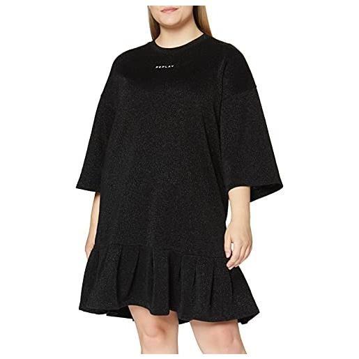 REPLAY w9682.000.22672 vestito, 040 lurex nero, s donna