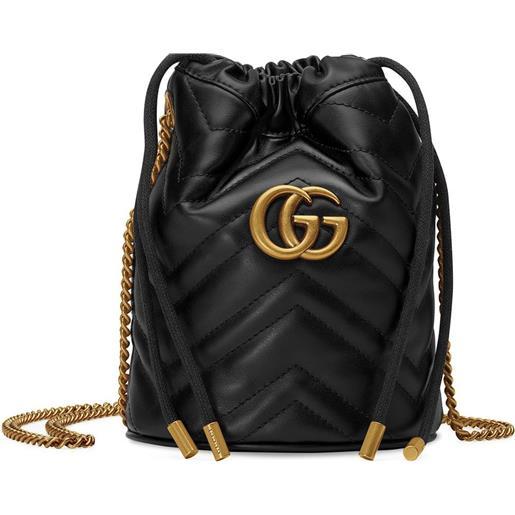 Gucci borsa a secchiello gg marmont mini - nero