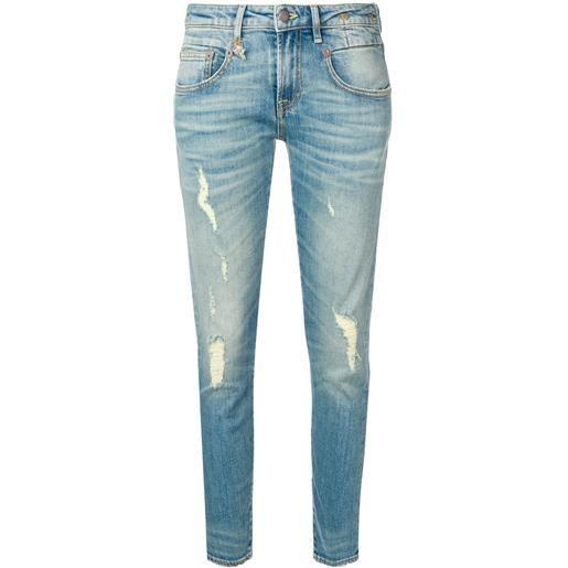 R13 jeans skinny strappati - blu