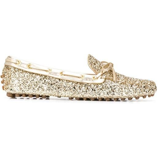 Car Shoe stringate con glitter - oro
