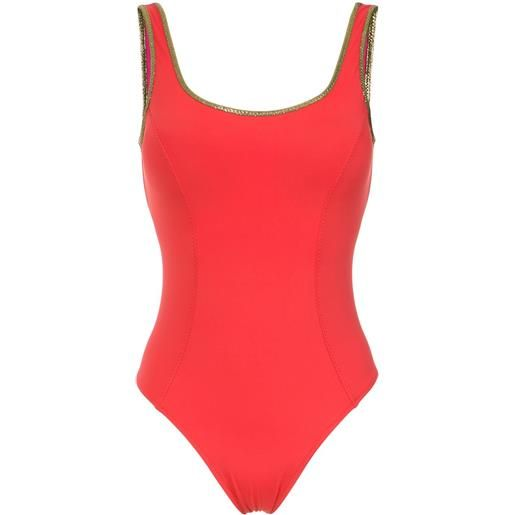 Amir Slama gold-tone trimming swimsuit - rosso