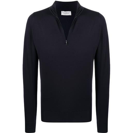 John Smedley maglione con mezza zip - blu