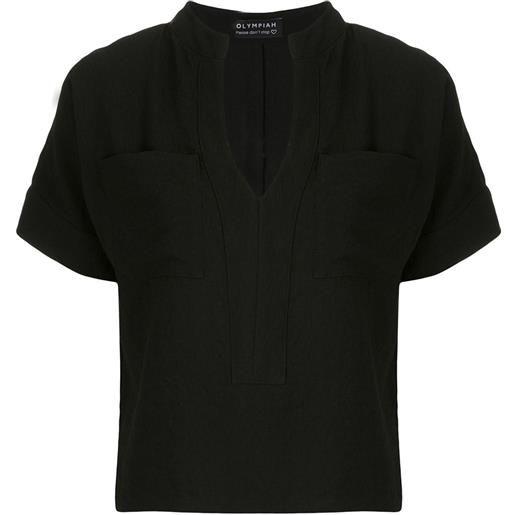 Olympiah blusa maggiolina con tasche - nero