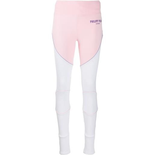 Philipp Plein leggings con pannelli a contrasto - rosa