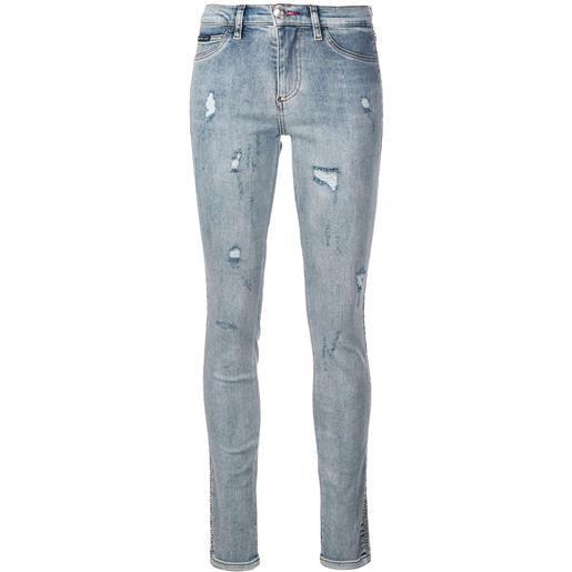 Philipp Plein jeans skinny con effetto vissuto - blu