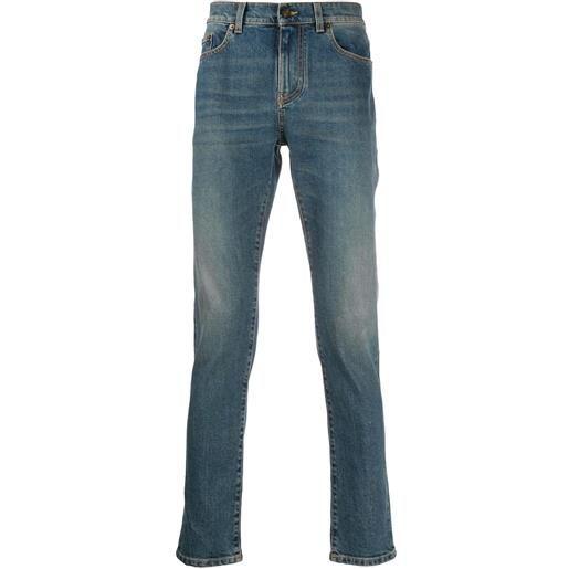 Saint Laurent jeans con effetto schiarito - blu