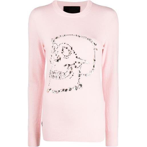 Philipp Plein maglione look at me con decorazione - rosa