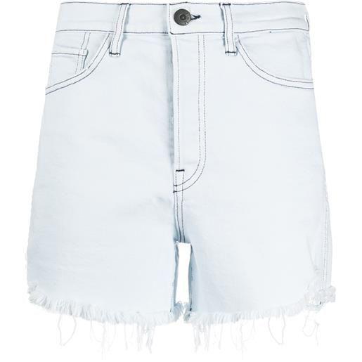 3x1 shorts denim con orlo sfrangiato - blu
