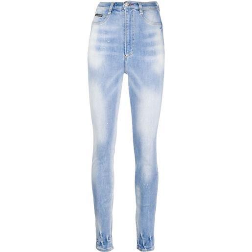 Philipp Plein jeans con effetto schiarito - blu