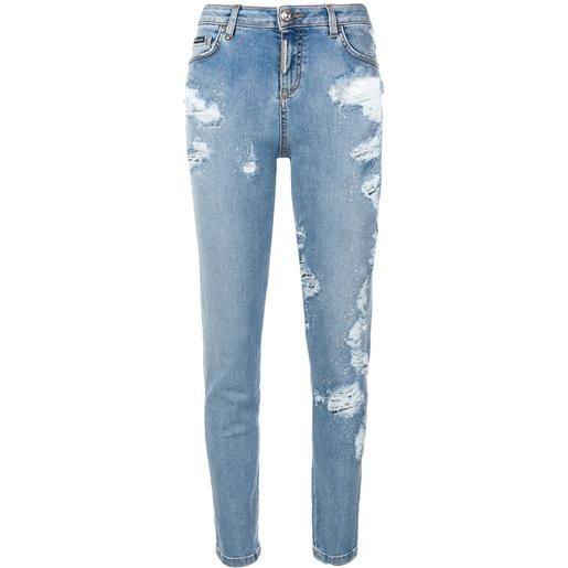 Philipp Plein jeans slim effetto vissuto - blu