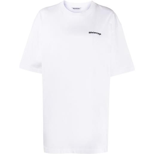 Balenciaga t-shirt oversize con stampa - bianco