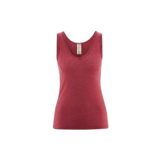 Living Crafts canottiera donna in lana seta -col. Rosso granato