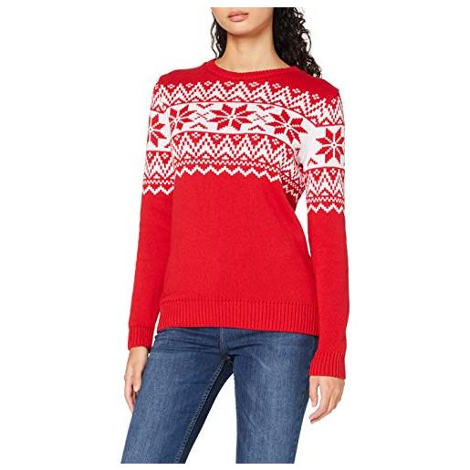 British Christmas Jumpers the nordic fairisle red womens eco christmas jumper pullover, rosso, xs donna