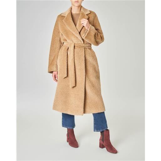 Max Mara Studio cappotto in alpaca e lana vergine effetto orsetto color cammello con cintura in vita