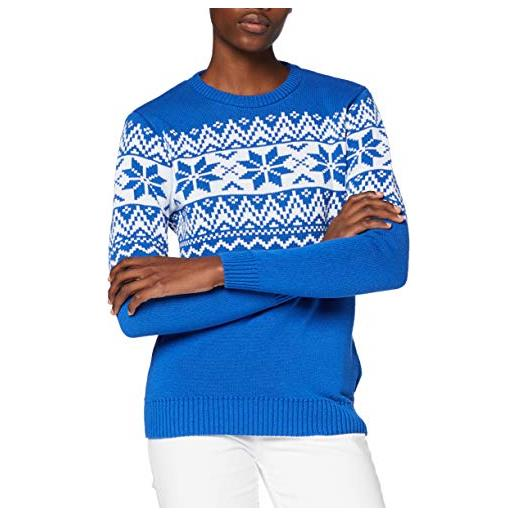 British Christmas Jumpers the nordic fairisle blue womens eco christmas jumper pullover, blu, l donna