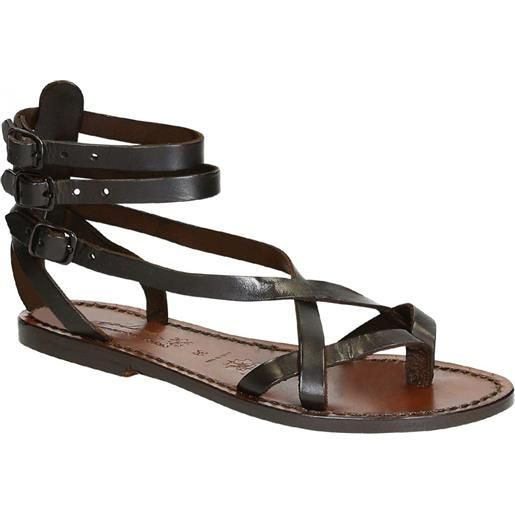 Gianluca - L'artigiano del cuoio sandali gladiatore fatti a mano in pelle colore testa di moro 564 d moro