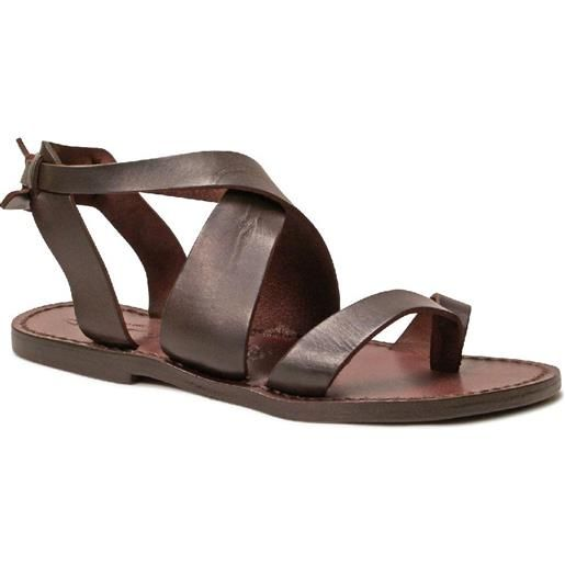 Gianluca - L'artigiano del cuoio sandali donna fatti a mano in pelle colore testa di moro 571 d moro